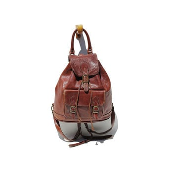 Rich Chocolate Brown Leather Backpack