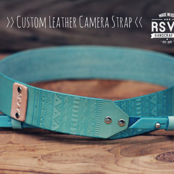 Custom Tribal Leather Camera Strap, Handmade personalized gift, Turquoise stain, Hipster, Aztec, blue, mint, Custom text, name initials