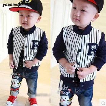 yauamdb baby outerwear 2016 Spring/Autumn brand clothes unisex Striped letter button clothing baby Cotton coat Korean version 32
