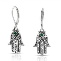 Amazon.com: Bling Jewelry Flower Hamsa Hand 925 Sterling Leverback Dangle Earrings Emerald Color: Jewelry