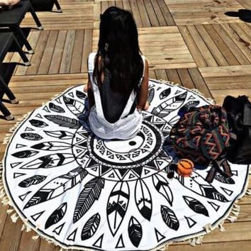 Mandala Yin and Yang Beach Blanket