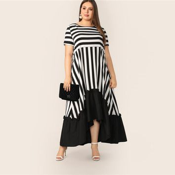 Plus Size Black And White High Low Hem Striped Dress Women Modest Casual Ruffle Hem High Waist A Line Dresses
