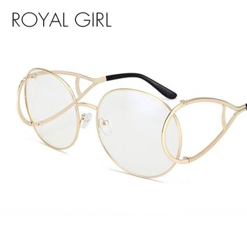 ROYAL GIRL Fashion Women Sunglass Spectacles Vintage Oval Modelling Metal Frame Eyewear Clear Lens Glasses ss115