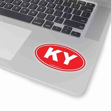 Kentucky KY Euro Oval Sticker RED