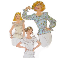 Peasant Top, Pullover Blouse Simplicity 8390 Misses Sewing Pattern Size 10 Bust 32 1/2 inch