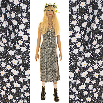 Vintage 90s Floral Maxi Dress Courtney Love Grunge Daisy