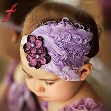 Flower Cotton  Hairbands Girls Cute Hairband  Light Purple Feather Hair Accessories