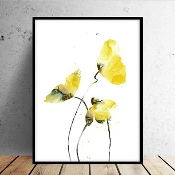 Watercolor flower print, Flower painting, Flower Art Print from Original Painting, Abstract flower, Yellow flower, Watercolor art -82