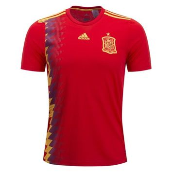 KUYOU Spain 2018 World Cup Home Men Soccer Jersey Personalized Name and Number