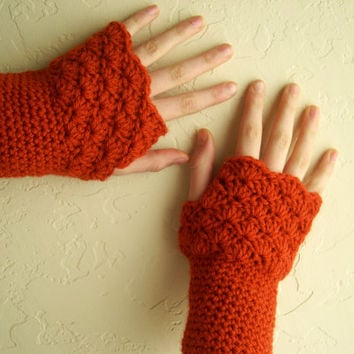 Fingerless gloves in chili orange - handknit arm warmers - mittens - arm cuffs - wool acrylic - women fingerless gloves