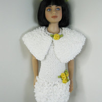 """12"""" Marley Wentworth Robert Tonner Doll Clothes Outfit only.  Handmade white Crochet dress for Easter or Spring plus bunny bear"""