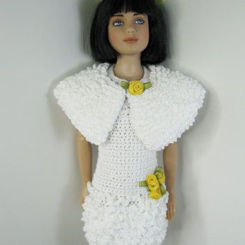 "12"" Marley Wentworth Robert Tonner Doll Clothes Outfit only.  Handmade white Crochet dress for Easter or Spring plus bunny bear"