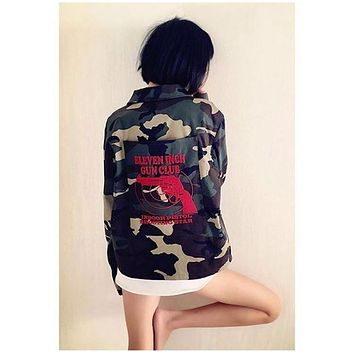 Vetements Hip Hop Camouflage pistol embroidery denim coat S M L XL