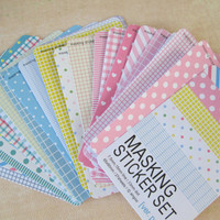 Masking Sticker Set - ver pastel - 27 Sheets - Scrapbooking, Party Supplies
