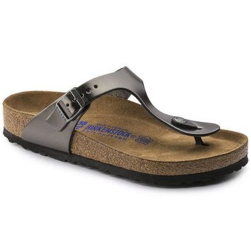 Sale Birkenstock Gizeh Soft Footbed Leather Metallic Anthracite 1003676 Sandals