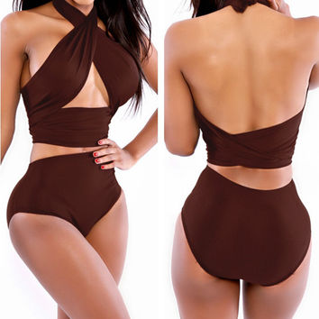 Brown Halter Wrap High Waisted Swimsuit