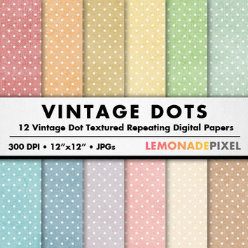 Vintage Dot Digital Paper - polka dots digital paper, scrapbooking paper, textured paper, repeating pattern, grunge texture, commercial use