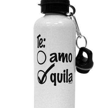 Tequila Checkmark Design Aluminum 600ml Water Bottle by TooLoud