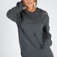 CHARCOAL DISTRESSED OVERSIZED HOODIE - KHLOE