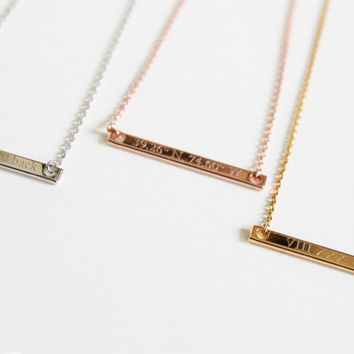 Engravable Bar Necklace, Choker Length, Roman Numerals, Compass Coordinates, Horizontal Bar, Greek Letters, Dates and Numbers, Sorority