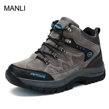 MANLI New Waterproof PU Hiking Shoes Boots Anti-skid Wear Resistant Breathable Fishing Climbing Outdoor High Sport Shoe For Men