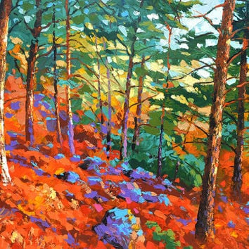 Scarlet Pines. High Quality Print on Canvas, Dmitry Spiros, living room decor wall art, home decor, house decor.
