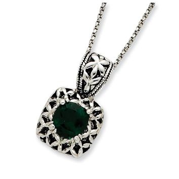 Sterling Silver Antiqued Green Synthetic Crystal Necklace