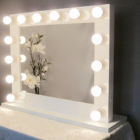 Grand Hollywood Lighted Vanity Mirror w/ Dimmer & Outlet