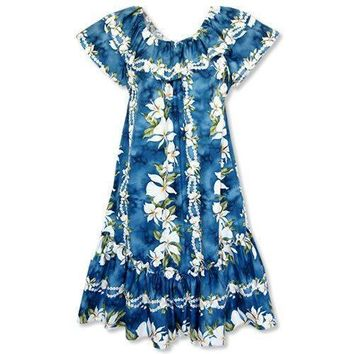 ginger hawaiian short ruffle muumuu