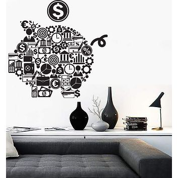 Wall Stickers Piggy Bank Symbols Business World Money Vinyl Decal Unique Gift (n541)