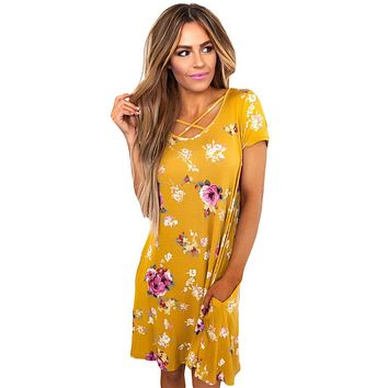 Yellow Cross Strap Neck Summer Floral Dress
