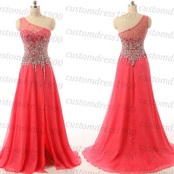 One shoulder prom dress,coral long prom dress,handmade beading chiffon coral formal evening dress,coral party dress