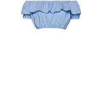 Striped cotton top with ruffles