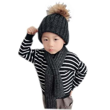 kids winter hat children real fur pompom beanie hat scarf cotton skullies caps warm knitted hat and scarf set