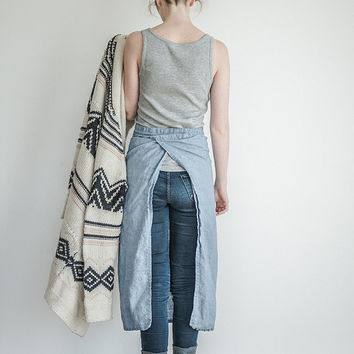 Long/garcon linen apron. Washed swedish blue natural, eco - friendly, handmade linen Chef apron.