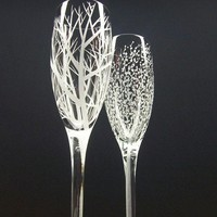 Two Hand Engraved Champagne Flutes 'Reaching by daydreemdesigns