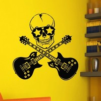 Vinyl Wall Decals Music Skull Guitars Rock Decal Sticker Home Wall Decor Bedroom Art Mural Z731
