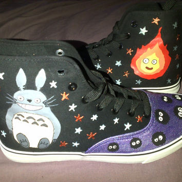 Hand Painted Studio Ghibli Inspired Shoes featuring Totoro, Catbus, No Face, Calcifer and the Soot Sprites!