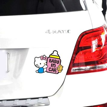 Car Stickers Hello Kitty Baby In Car Feeding bottle Lovely Cartoon Colorful Creative Decals Waterproof Auto Tuning Styling D16