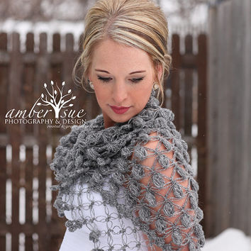 Bridal Shrug Bolero Shawl // Winter Wedding  //Bridal accessories //  Bridal clothing / Crochet Shawl Shrug