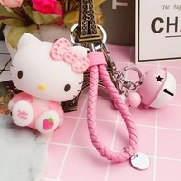 16 Colors Hot Cartoon Hello Kitty Doll Toy Handwork Leather Rope Metal Bell Hello Kitty Keychain Key Ring Car Bag Pendant Girls