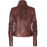 WOMENS MAROON BIKER LEATHER JACKET, DESIGNER WOMEN LEATHER JACKET
