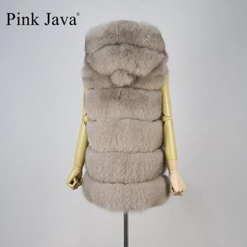 pink java QC8062  2016 new women winter fur coat real fox fur vest with big hood genuine fur high quality fox gilet hot sale