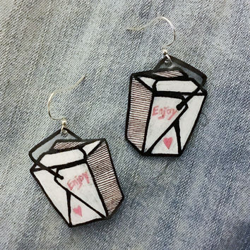 Illustrated Chinese Takeout Box Dangle Earrings in Pink, Black, and White