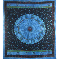 Blue Zodiac Sign Hippie Bohemian Tapestry Bed Cover