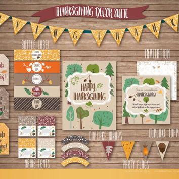 Printable Thanksgiving Home Decor & meal Invite // DIY ThanksGiving digital decorations // bunting party flags Invitation bottle wraps