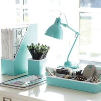 Preppy Paper Desk Acc - Solid Pool W/ White Interior