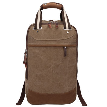 Travel Bag Canvas Backpack School Bag for Boys Solid Coffee Men Bag Zipper Military Backpack Canvas Leather Bags for Travel Work