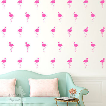 Flamingo Wall Decal / 40 Flamingo Sticker / Home decor / Office Decor / Nursery Wall Decal