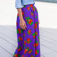 Purple Maxi skirt long skirt floral skirt by ANNAKSHOP on Etsy